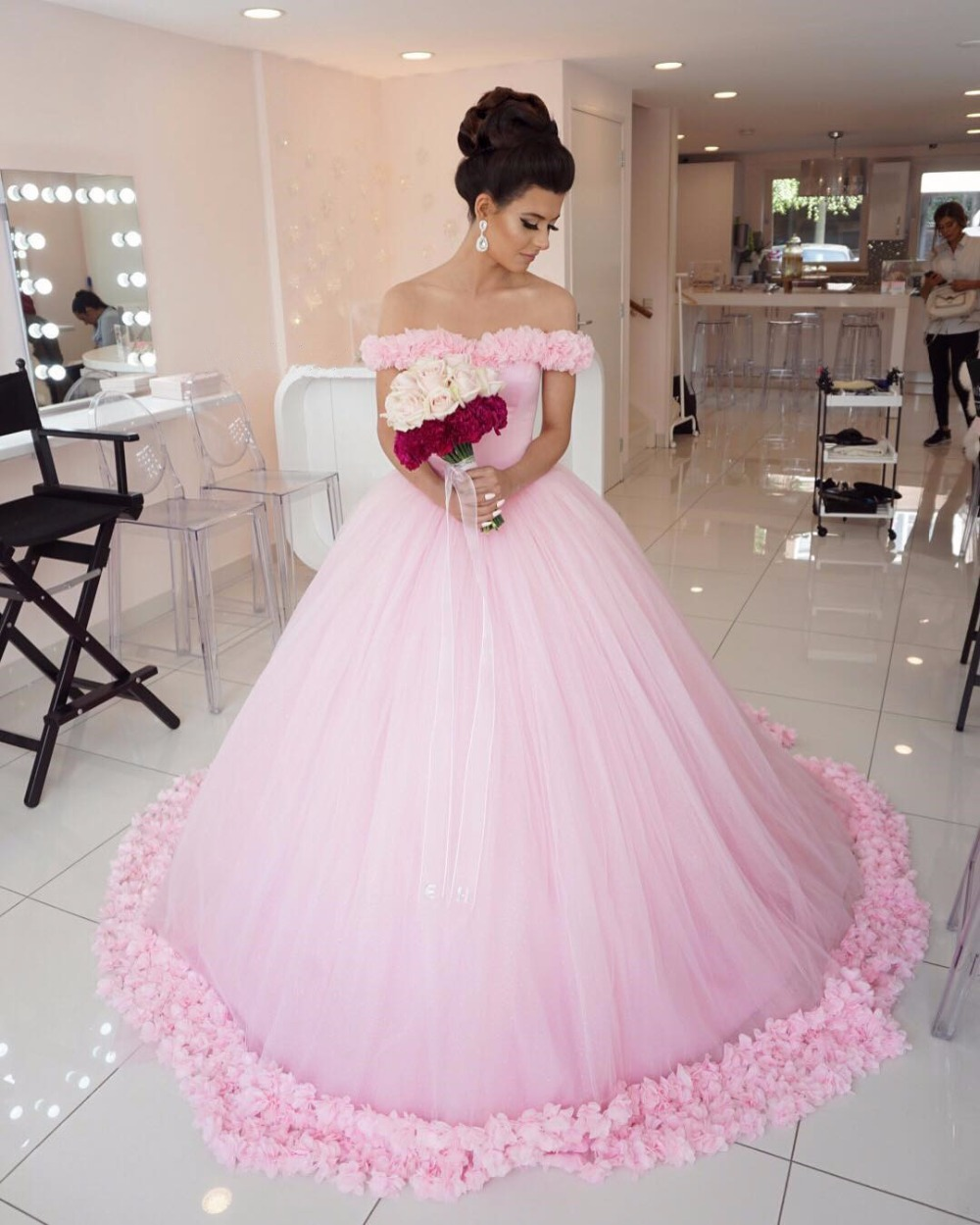 Wedding Dress, Pink Wedding Wedding Dress, Princess Wedding Dress ...