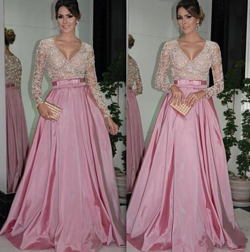 V Neck Long Sleeve Pink Lace Satin Prom Dressesevening Dresses