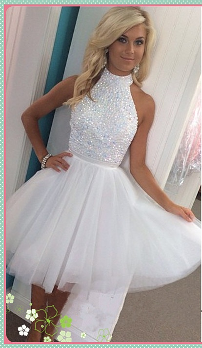 7cbe325c346 Hot Sale White Halter Beading Homecoming Dresses