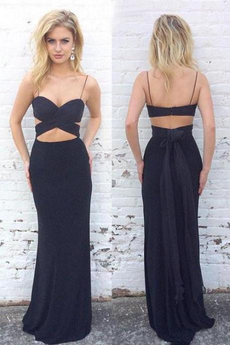Simple Two Pieces Black Prom Dress,Sexy Mermaid long prom dress,formal dress