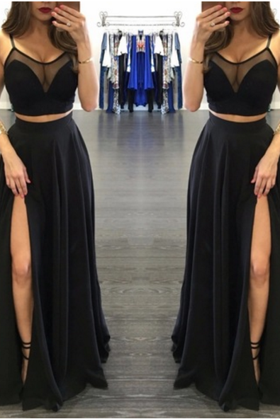 Custom made two pieces chiffon black long prom dress Sexy evening dress