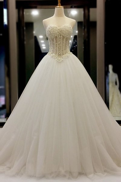 Sweetheart Beading Wedding Dresses,Wedding Dress,Custom Made Wedding Gown