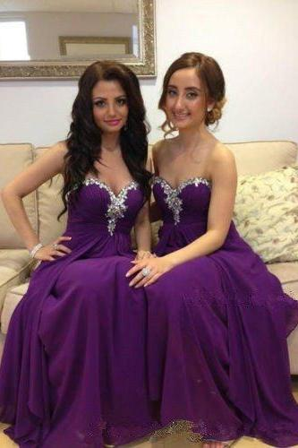 purple bridesmaid dress,long bridesmaid dress,sweetheart bridesmaid dress,charming bridesmaid dresses