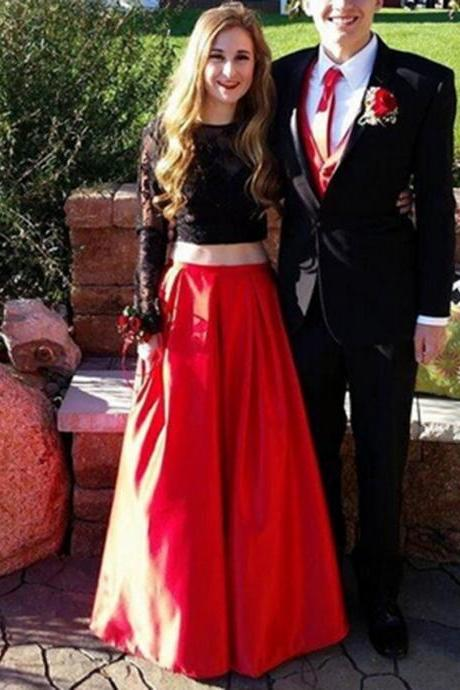 Prom Dress, Long Prom Dresses, Black Lace Long Sleeves Red Satin Long Prom Dress, Belt Prom Dress, Evening Dress, Party Dress, Prom Dresses 2017