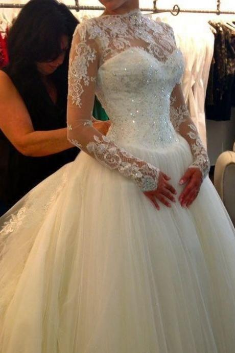 Sheer Long-Sleeved Lace Princess Ball Gown, Wedding Dress with Chapel Train