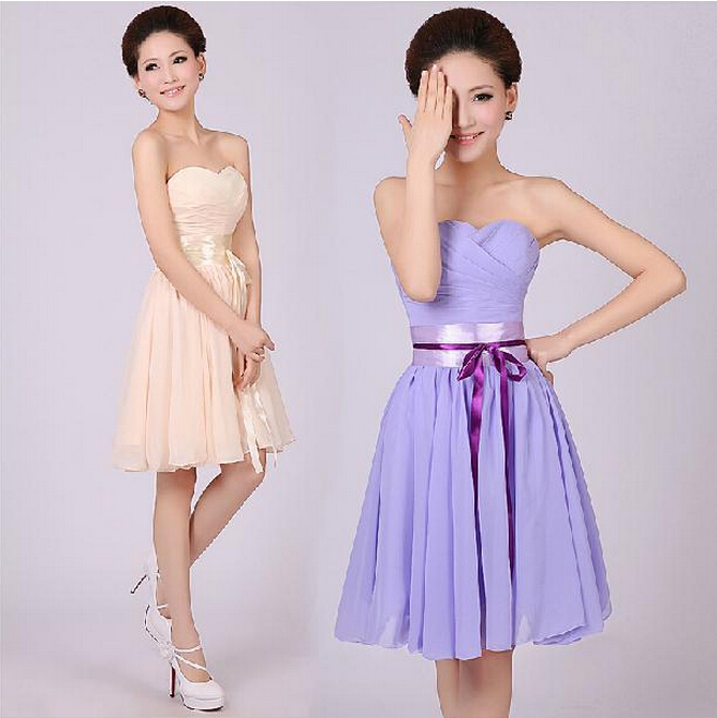 5e4e8abbe44 Fashion Custom Made Short Strapless Slim Bow Bridesmaid Dresses Tube Top  Party Dress